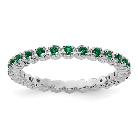 Sterling Silver Stackable 1/3 ct Created Emerald Eternity Ring