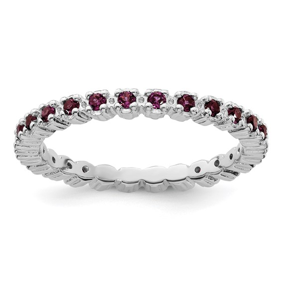 Sterling Silver Stackable 1/2 ct Rhodolite Garnet Eternity Ring