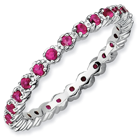 Sterling Silver Stackable 1/2 ct Created Ruby Eternity Ring