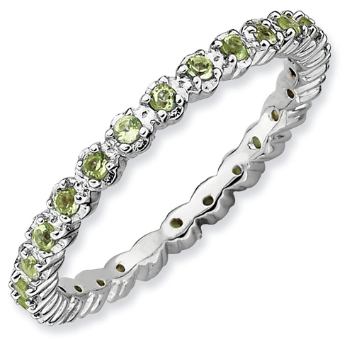 Sterling Silver Stackable 2/5 ct Peridot Eternity Ring
