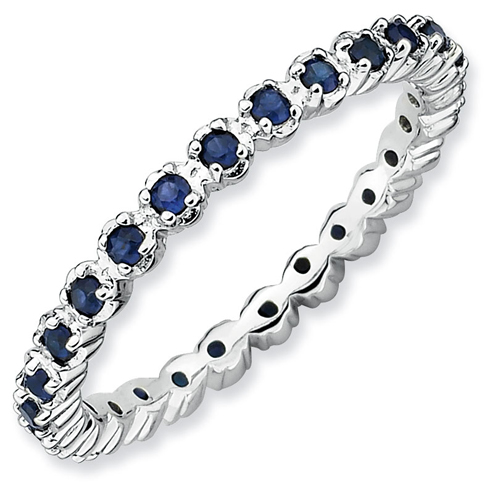 Sterling Silver Stackable 1/2 ct Created Sapphire Eternity Ring