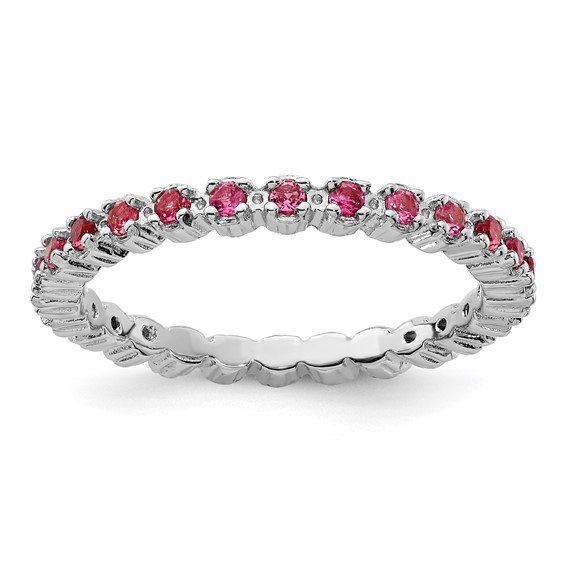 Sterling Silver Stackable 2/5 ct Pink Tourmaline Eternity Ring