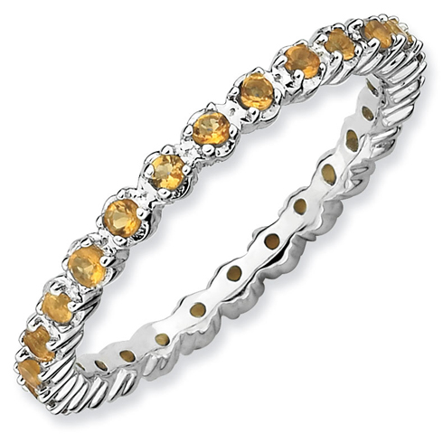 Sterling Silver Stackable 2/5 ct Citrine Eternity Ring