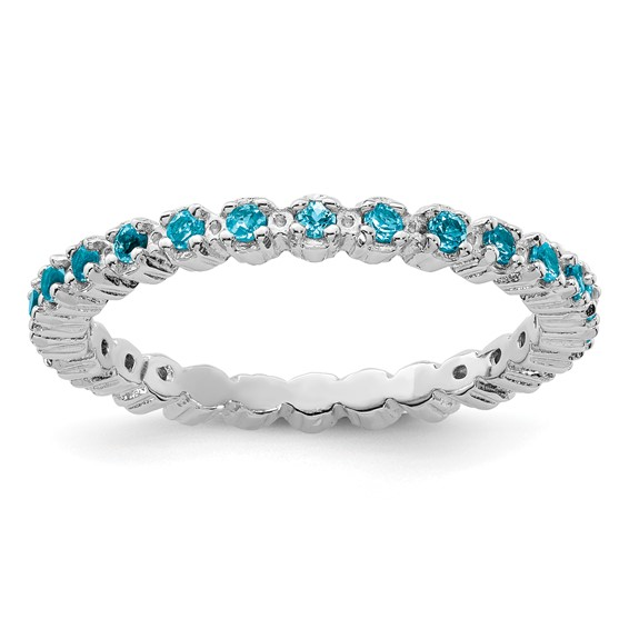 Sterling Silver Stackable 1 2 ct Blue Topaz Eternity Ring QSK361