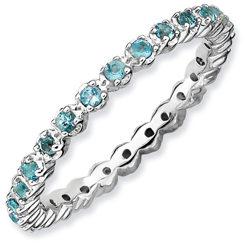 Sterling Silver Stackable 1/2 ct Blue Topaz Eternity Ring