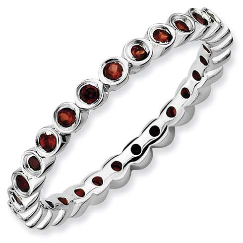 Sterling Silver Stackable 2/5 ct Garnet Bezel Eternity Ring