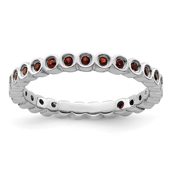 Sterling Silver Stackable 2/5 ct Garnet Bezel Eternity Ring