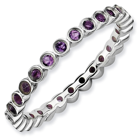 Sterling Silver Stackable 2/5 ct Amethyst Bezel Eternity Ring