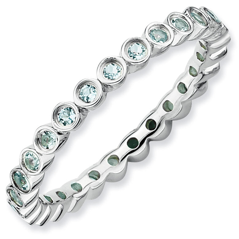 Sterling Silver Stackable 1/3 ct Aquamarine Bezel Eternity Ring