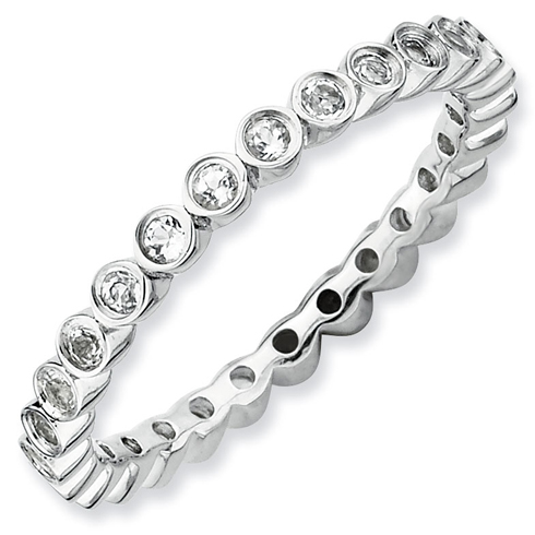 Sterling Silver Stackable 1/2 ct White Topaz Bezel Eternity Ring