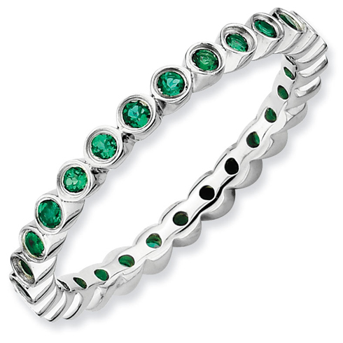 Sterling Silver Stackable 3/8 ct Created Emerald Eternity Ring