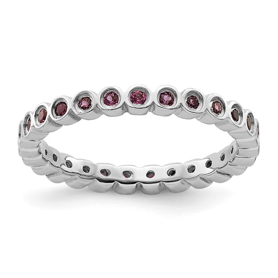 Sterling Silver Stackable 7/10 ct Rhodolite Garnet Eternity Ring