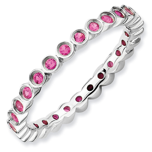 Sterling Silver Stackable 1/2 ct Created Ruby Bezel Eternity Ring