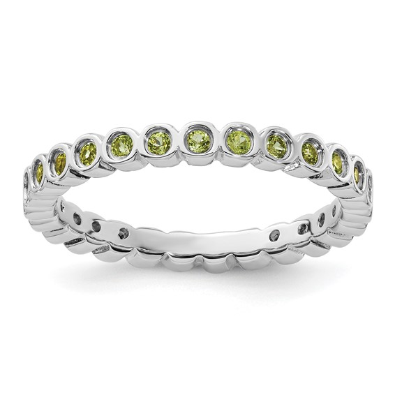 Sterling Silver Stackable 2/5 ct Peridot Bezel Eternity Ring