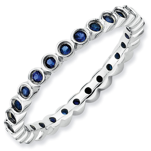 Sterling Silver Stackable 1/2 ct Created Sapphire Bezel Eternity Ring