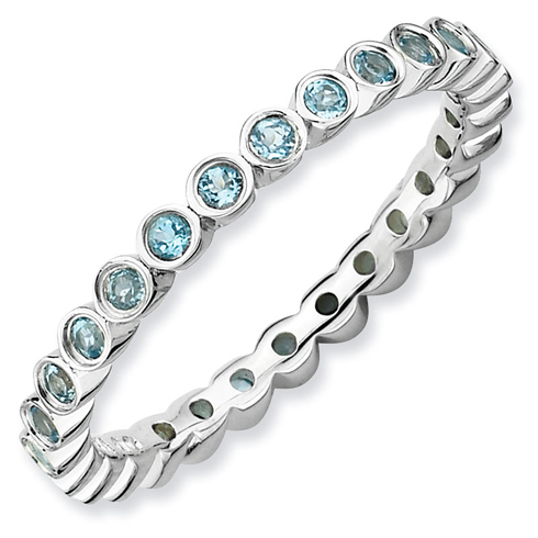 Sterling Silver Stackable Expressions Blue Topaz Eternity Ring