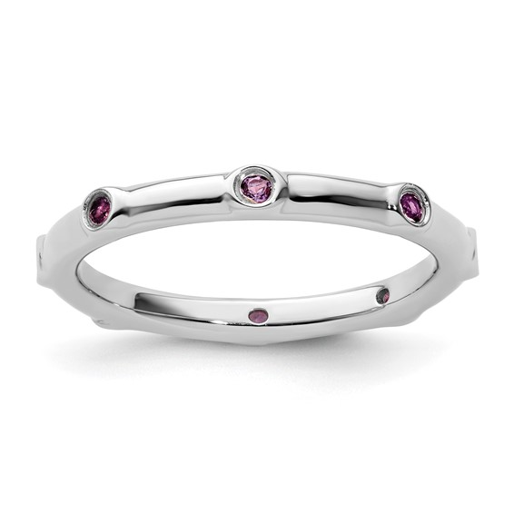 Sterling Silver Stackable Amethyst Eternity Ring