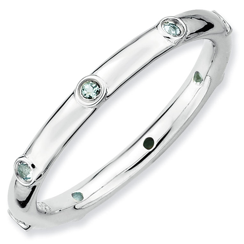 Sterling Silver Stackable Aquamarine Eternity Ring
