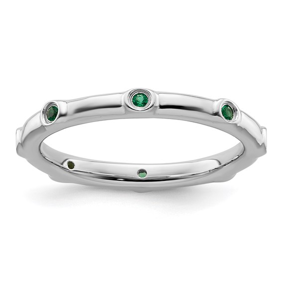 Sterling Silver Stackable 1/10 ct Created Emerald Ring
