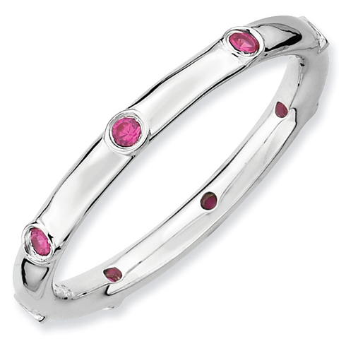 Sterling Silver Stackable Expressions 1/6 ct Created Ruby Ring