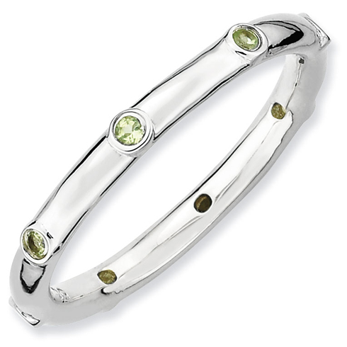 Sterling Silver Stackable Expressions Peridot Ring
