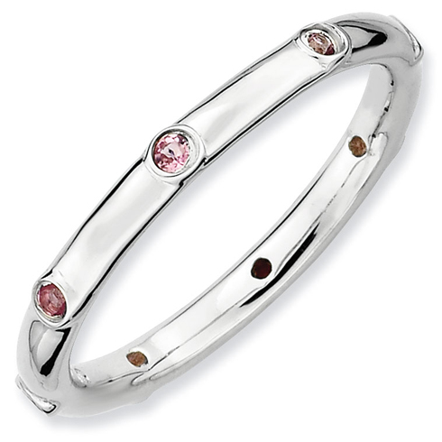 Sterling Silver Stackable Pink Tourmaline Station Ring