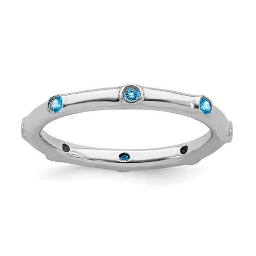 Sterling Silver Stackable Expressions 1/6 ct Blue Topaz Ring