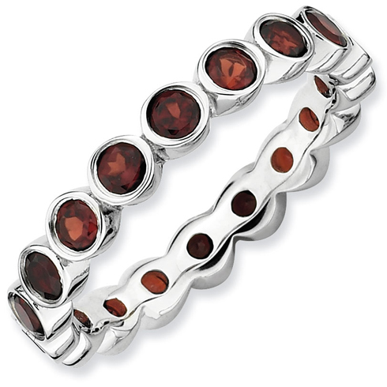 Sterling Silver 1 1/2 ct Garnet Eternity Ring