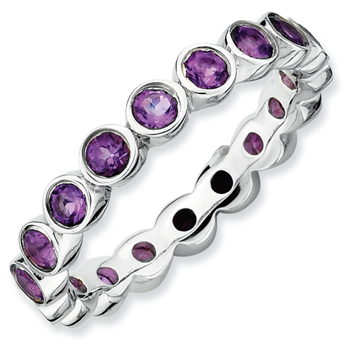 Sterling Silver Stackable Bezel 1.1 ct Amethyst Ring