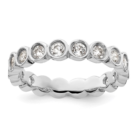 Sterling Silver Stackable Expressions White Topaz Bezel Eternity Ring
