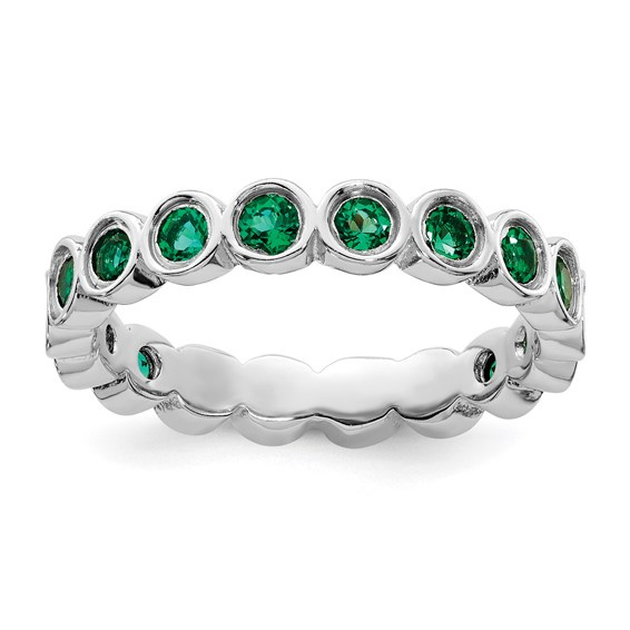 Sterling Silver Stackable 1.1 ct Created Emerald Bezel Eternity Ring