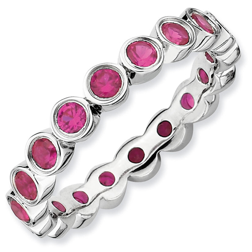 Sterling Silver Stackable 1.6 ct Created Ruby Eternity Bezel Ring