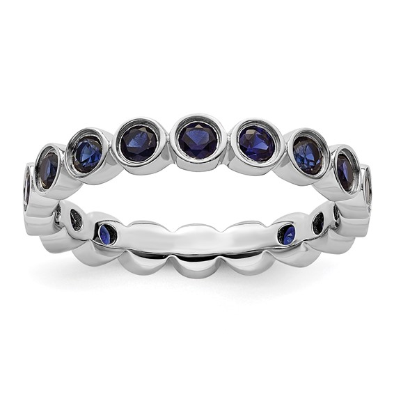Sterling Silver Stackable Bezel Created Sapphire Ring