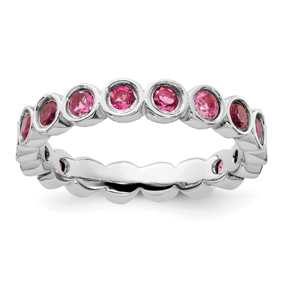 Sterling Silver Stackable 1 1/4 ct Pink Tourmaline Eternity Ring