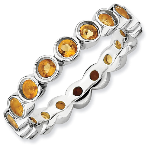 Sterling Silver Stackable 1.2 ct Citrine Bezel Eternity Ring