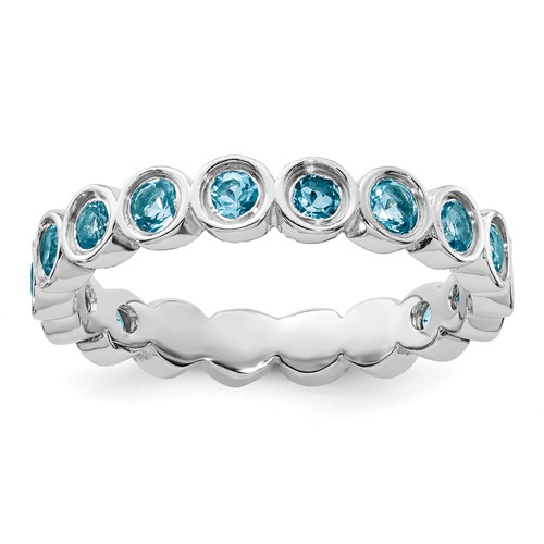 Sterling Silver Stackable 1.4 ct Blue Topaz Eternity Ring