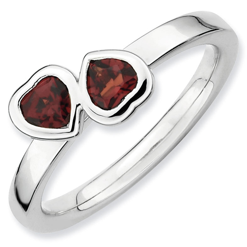 Sterling Silver Stackable Expressions Garnet Double Heart Ring