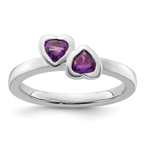 Sterling Silver Stackable Amethyst Double Heart Ring