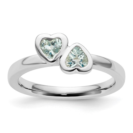 Sterling Silver Stackable Expressions Aquamarine Double Heart Ring