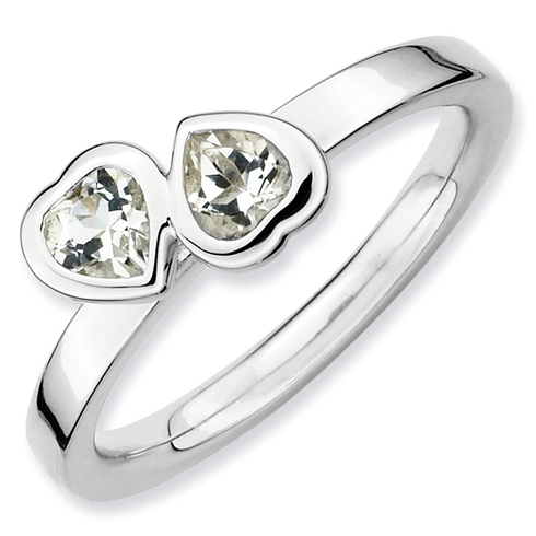 Sterling Silver Stackable 1/2 ct White Topaz Double Heart Ring