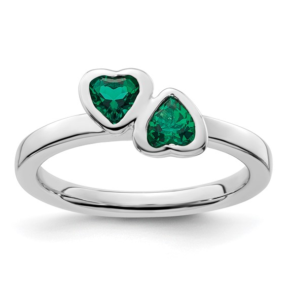 Sterling Silver Stackable Created Emerald Double Heart Ring
