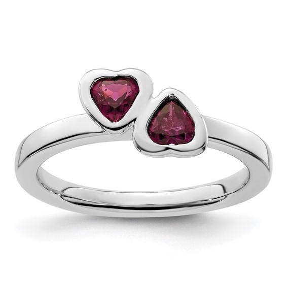 Sterling Silver Stackable Rhodolite Garnet Double Heart Ring