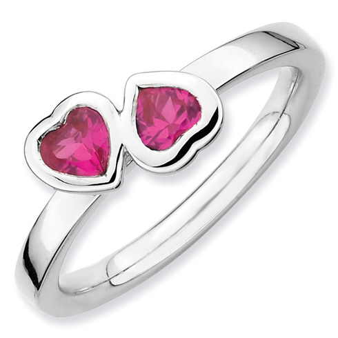 Sterling Silver Stackable Created Ruby Duo Heart Ring