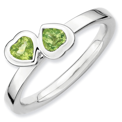 Sterling Silver Stackable Expressions Peridot Double Heart Ring