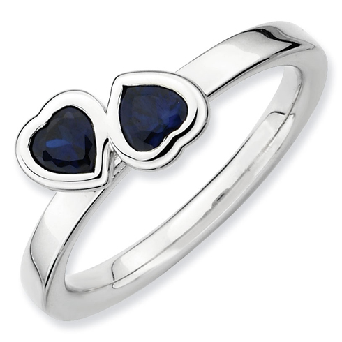 Sterling Silver Stackable Created Sapphire Double Heart Ring
