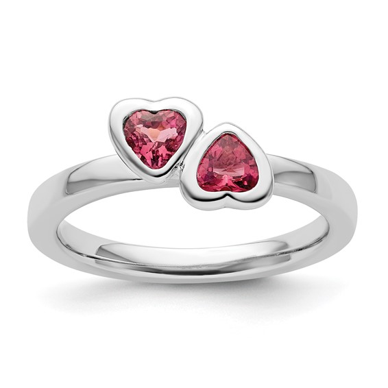 Sterling Silver Stackable Pink Tourmaline Double Heart Ring