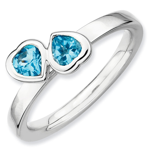 Sterling Silver Stackable Expressions Blue Topaz Double Heart Ring