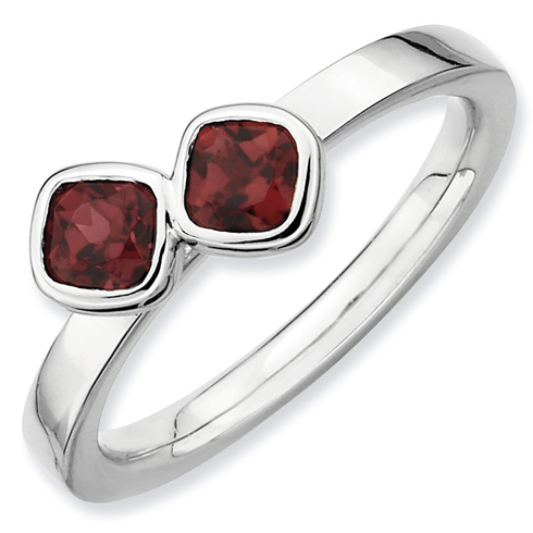 Sterling Silver Double Cushion Cut Garnet Ring