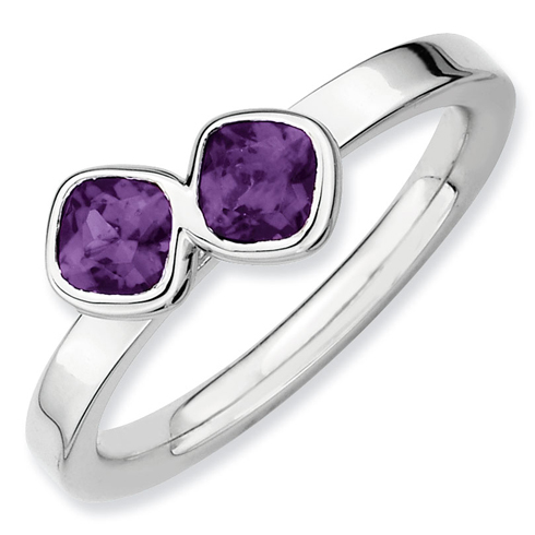 Sterling Silver Stackable Double Cushion Cut Amethyst Ring