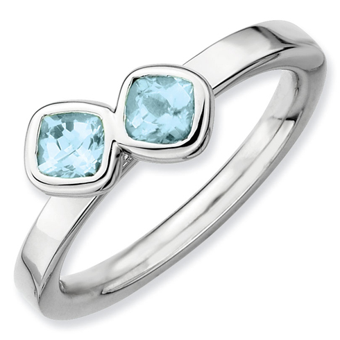 Sterling Silver Stackable 3/5 ct Cushion Cut Duo Aquamarine Ring